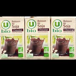 Boisson bio au soja saveur chocolat U BIO, 3 briques de 25cl