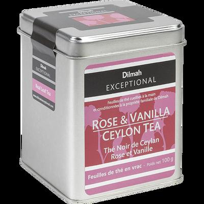 Thé noir de Ceylan rose et vanille DILMAH, sachet de 100g