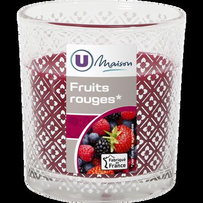 Contenant droit décoré U MAISON, en verre, avec bougie parfumée fruitsrouges, rouge