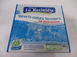 yaourts nature fermiers, BLEU BLANC COEUR, au lait entier de vache, La Bazinière, pot 4x125g
