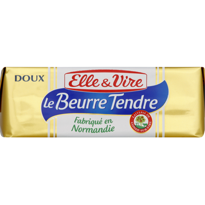Beurre tendre doux  82% de matière grasse ELLE&VIRE, plaquette de 250g