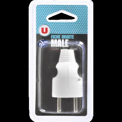 Fiche mâle droite 2P+T U, 10/16A, blanc