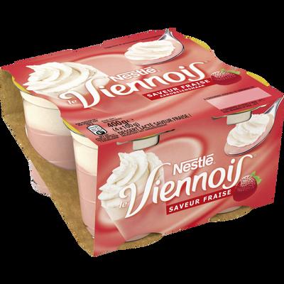 Dessert lacté à la fraise LE VIENNOIS 4X100g