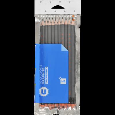 Crayon de papier HB U avec bout gomme, pack de 10