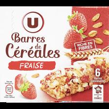Barres céréales blé complet fraise U, x6, 126g