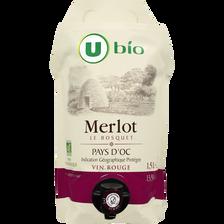 Pays d'Oc Merlot IGP rouge Le Bosquet U Bio 1,5L