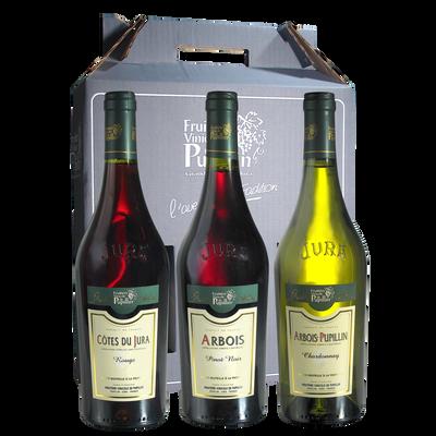 Vins du Jura FRUITIERE VINICOLE DE PUPILLIN, coffret carton de 3 bouteilles de 0.75l