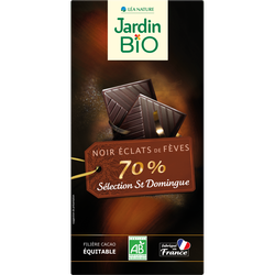 Tablette chocolat noir aux éclats fèves cacao bio JARDIN BIO 100g