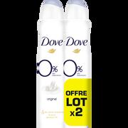 Dove Déodorant Women Original 0% Aluminium Dove, 2 Atomiseurs De 200ml