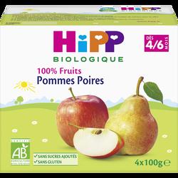 Compote infantile bio 100% Fruits pommes poires HIPP, dès 4 mois, 4x100g