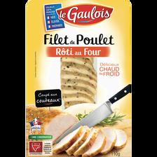 Filet de poulet rôti coupé au couteau LE GAULOIS, 110g
