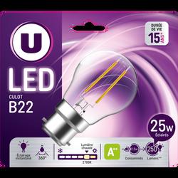 Ampoule LED PREMIUM U, mini ronde 25w B22, verre filament, transparente, lumière chaude