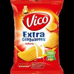 Chips extra craquantes nature pomme de terre salées ondulées VICO, 135g