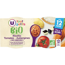 Bols risotto tomate aubergine bio Tout Petits Bio U, dès 12mois, 2x200g
