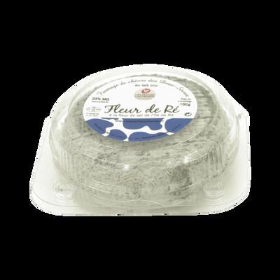 Fromage de chèvre, au lait thermisé, 23% Mg, grande fleur de Ré cendrée les petites laiteries, 150g