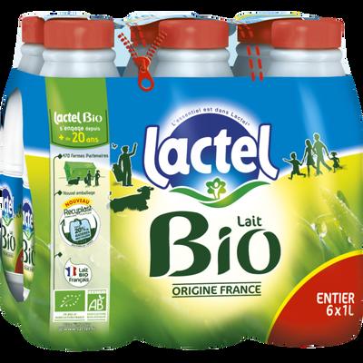 Lait entier UHT LACTEL Bio, bouteille 6x1 litre