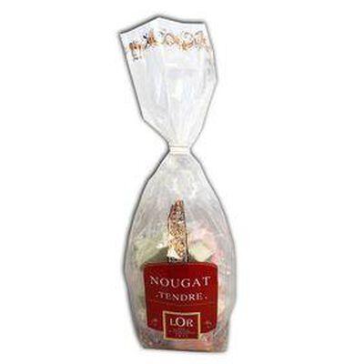 Sachet de 200g de nougat tendre aromatisés vanille, framboise et pistache  LOR, en emballage individuel