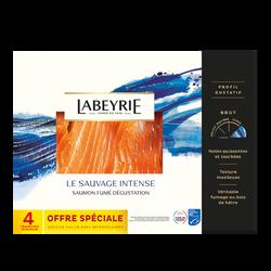 Saumon sauvage du pacifique,fumé au bois de hetre 4 tranches LABEYRIE145g dégustation offre spéciale