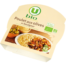 Poulet aux olives et boulgour U BIO, barquette micro-ondable de 300g