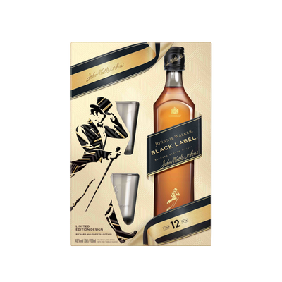 Whisky  Black Label 12ans JOHNNIE WALKER, 40°,  70cl+coffret 2verres
