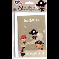 Invitations + enveloppes pirate, 6 unités