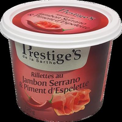 Rillettes jambon serrano piment d'Espelette PRESTIGE'S, 220G