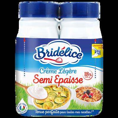 Crème légère semi épaisse  18% de matière grasse UHT BRIDELICE, 2 bouteilles de 25cl