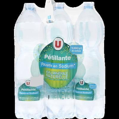 Eau minérale naturelle pétillante pauvre en sodium U, 6 bouteilles enplastique, 1,5L