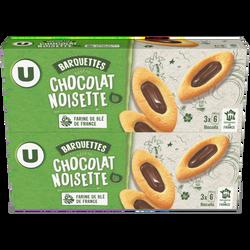 Barquettes au chocolat et aux noisettes U MAT & LOU, 2x120g