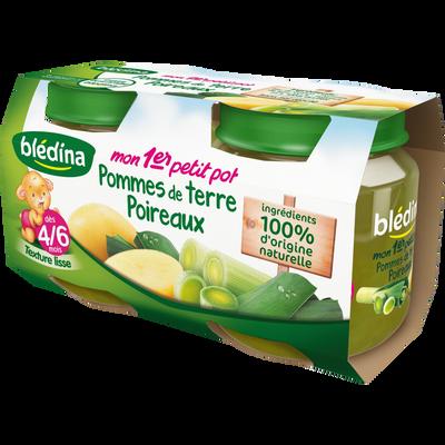 Pot pour bébé pomme de terre et poireaux BLEDINA, dès 4-6 moiss, 2x130g