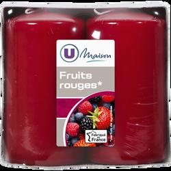 Bougies U MAISON, parfumées fruits rouges, 48x90mm, rouges, 2 unités