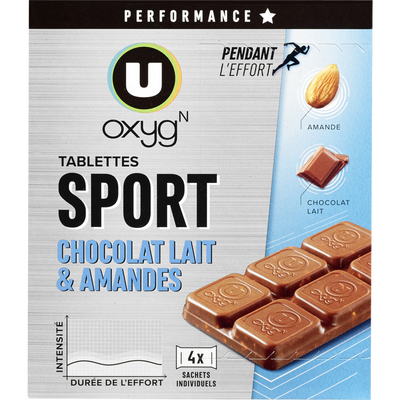 Tablettes chocolat amande U OXYGEN, 160g