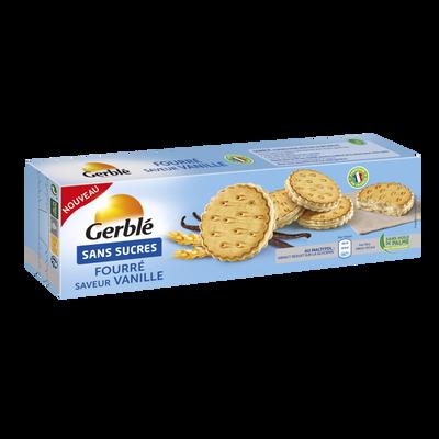 Goûters fourrés à la vanille sans sucres GERBLE, paquet de 185g