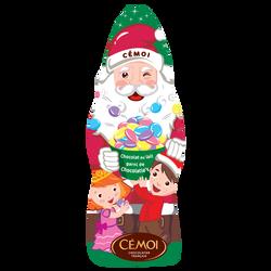 Moulage Père Noël en chocolat au lait garni de confettis sous alu CEMOI, 160g