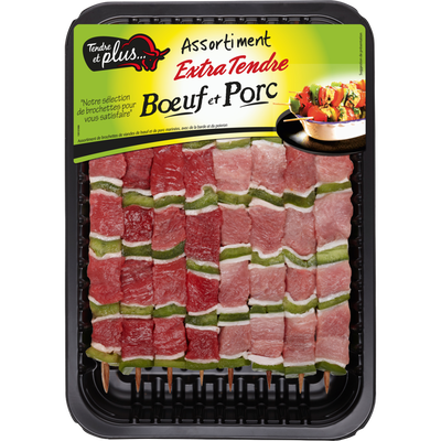Brochette extra tendre boeuf et porc, TENDRE ET PLUS, France, 8 pièces, barquette, 640g