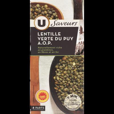 Lentilles vertes du Puy  les saveurs U,  paquet de 500g