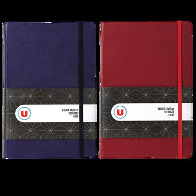 Carnet élastique U, 14x21cm, 192 pages, 90gr, couverture rembordée rigide, 2 coloris assortis