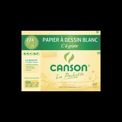 Papier à dessin CANSON, grain 224g/m2, 24x32cm, pochette de 12 feuilles