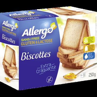 Biscottes diététiques sans gluten ALLERGO, x12, 250g
