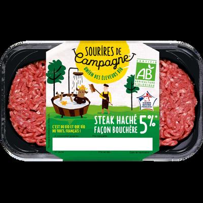 Steak haché frais basse pression, 5% MAT.GR., BIO, SOURIRS DE CAMPAGNE, France, 2 pièces, barquette, 250g