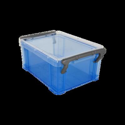 Boite de rangement, en polypropylène, 0,85l, bleu translucide, idéalepour ranger les accessoires de bureau