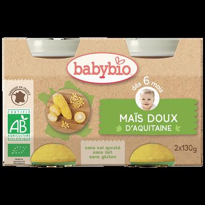 Pot maïs doux d'Aquitaine BABYBIO, dès 6 mois, 2x130g soit 260g