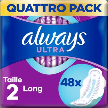 Always Serviettes Hygiéniques Avec Ailettes Taille 2 Long+ Ultra Always X48