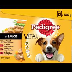 Sachets fraîcheur en sauce pour chien 4 variétés à la viande vital protection PEDIGREE, 12x100g