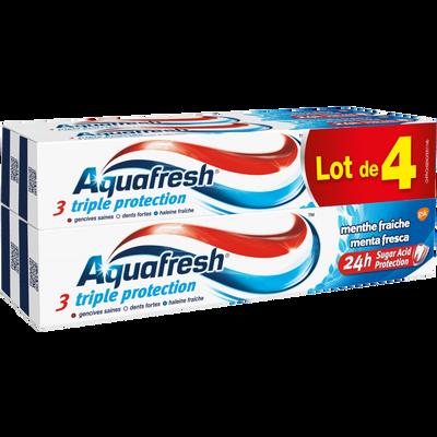 Dentifrice triple protection menthe fraîche AQUAFRESH, 4 tubes de 75ml