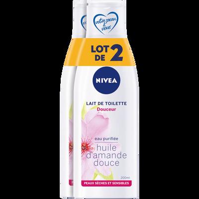 Lait démaquillant douceur pour peaux sensibles NIVEA, 2 flacons de 200ml