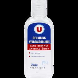 Gel nettoyant mains hydroalcoolique antibactérien sans rinçage U, 75ml