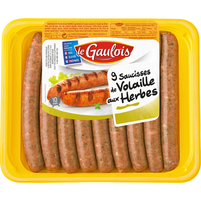 Saucisse de volaille aux herbes, LE GAULOIS, 9 pièces, 450g