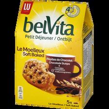Belvita le moelleux pépites chocolat Petit déjeuner LU, paquet x5, 250g