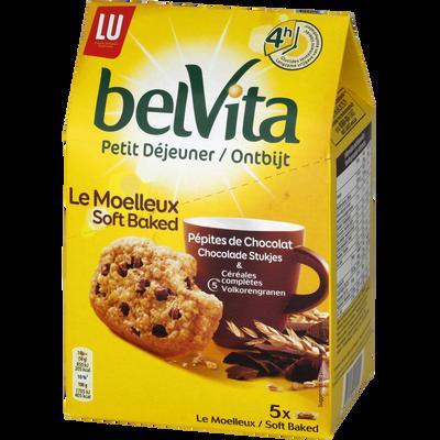 Belvita le moelleux pépites chocolat Petit déjeuner LU, 5 paquets soit250g